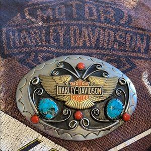 RARE VTG Harley-Davidson Turquoise Belt Buckle